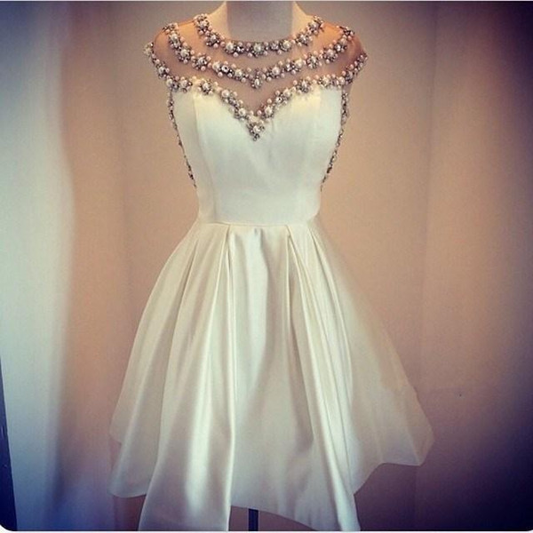 Ivory Homecoming Cocktail Dresses Crystal Pearls Beaded Evening Party Gowns Short Illusion Club Wear Prom Dress Knee Length Custom Made