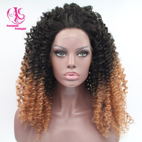 Fashion Free shipping two tone black to Medium Brown curly wig ombre glueless synthetic lace front wig heat resistant curly wig