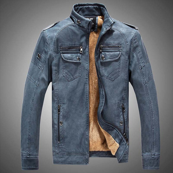 Winter PU Leather Jacket Men Long Wool Leather Standing Collar Jackets Coat Outwear Trench Parka Mens Leather Jackets And Coats