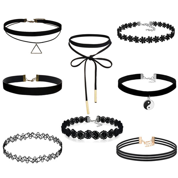 best selling FIBO STEEL 8-10PCS Womens Black Velvet Choker Necklace for Girls Lace Choker Tattoo Necklace