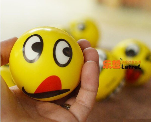 top popular 6.3cm Emoji Faces Squeeze Stress Ball Hand Wrist Finger Exercise Stress Relief Therapy Assorted Styles Christmas gifts 2019