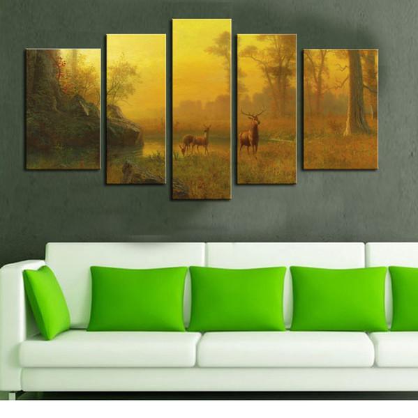 5 Impressionista stile della combinazione di immagine Dipingere la parete della pittura dell'arte della pittura di legno della foresta del lago del cervo della foresta di legno per la decorazione domestica