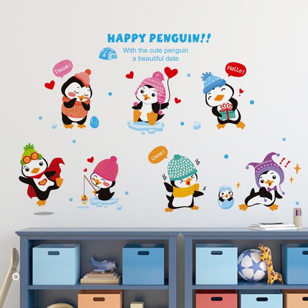 Cartoon Animals Wall Stickers Children Bedroom Kindergarten Baby Antarctic  Winter Happy Penguin Background Adornment Wall Stickers Removable Decals ...