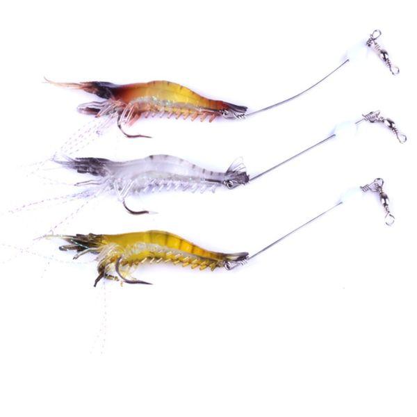 3PCS Luminous Shrimp Soft Lure 9cm 6g Fishing Artificial Bait with Glow Hook Swivels Anzois Para Pesca Sabiki Rigs Prawn Fishing Lure