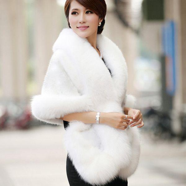 top popular 2019 New Bridal Wraps Winter Wedding Coat Faux Fur Warm shawls Outerwear Black Burgundy White Korean Style Women Jacket Prom Evening Party 2021