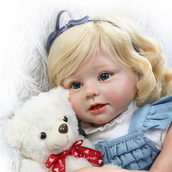 "top popular Soft Silicone Realistic Reborn Toddlers Girls Baby Dolls 28"" (70cm) Babies Kids Toys With Blonde Hair 2021"