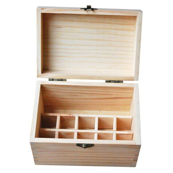 New Design Essential Oil Wooden Storage Box 10 holes 5-10ml+1 Hole 15-20ml bottles Aromatherapy Therapist Gift Natural wood without paint
