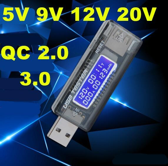 10 PCS LCD digital Portátil Mini USB Tensão Corrente testador de medidor de 5 V ~ 20 V QC 2.0 3.0 volts Carregador de Capacidade de Detector de Potência de Texto