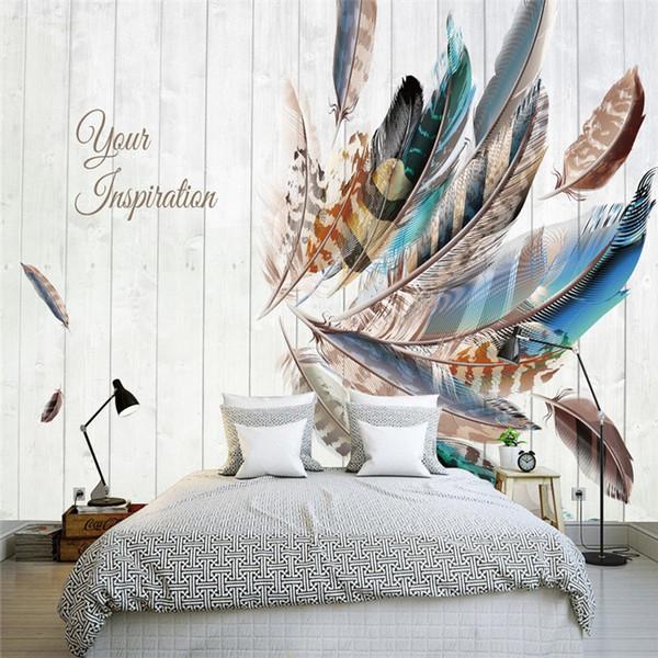 Acheter Scandinave à La Main Chambre Murale 3d Plumes De Couleur Fond Tv Fonds Décran Vidéo Mur Tissu Moderne Salon Papier Peint De 2513 Du