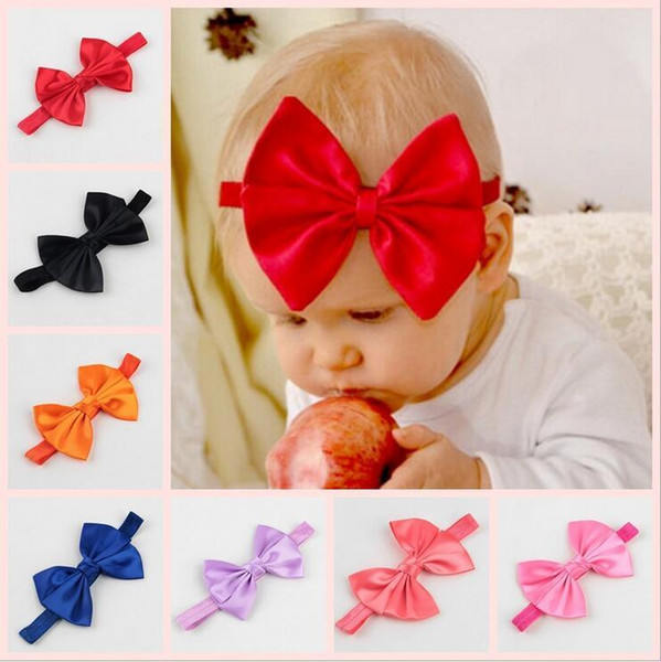 2016 New Girls Satin Ribbon Elastic Bow Headbands Baby Kids Cute Bowknot Hair Accessories Infant Hairbands Photography props KHA286