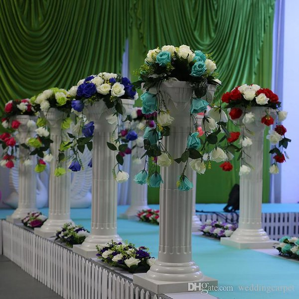 Free Shipping Height 89cm (35 inch) Roman Road Lead Rome Plastic Column Style With Flower And Flower Pot For Wedding Mall Opened Props