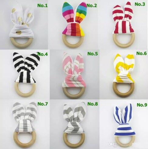 best selling 2017 New Bunny Ear Teether Baby Teething Ring Wooden Crinkle Minky Fabric Baby Teething Toy Chevron Polka Dots Striped 20 Patterns Teether