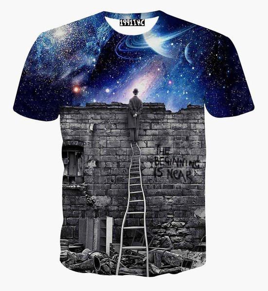 tshirt New Europe and American Men/boy T-shirt 3d fashion print A person watching meteor shower Space galaxy t shirt