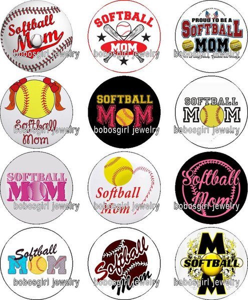 Free shipping softball MOM glass Snap button Charm Popper for Snap Jewelry good quality 12pcs / lot Gl357 jewelry making DIY