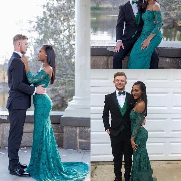 Modest Full Lace Hunter Prom Dresses 2017 Off The Shoulder Long Sleeves Mermaid Long Evening Gowns Dress For Pageant Party Cheap Custom Made