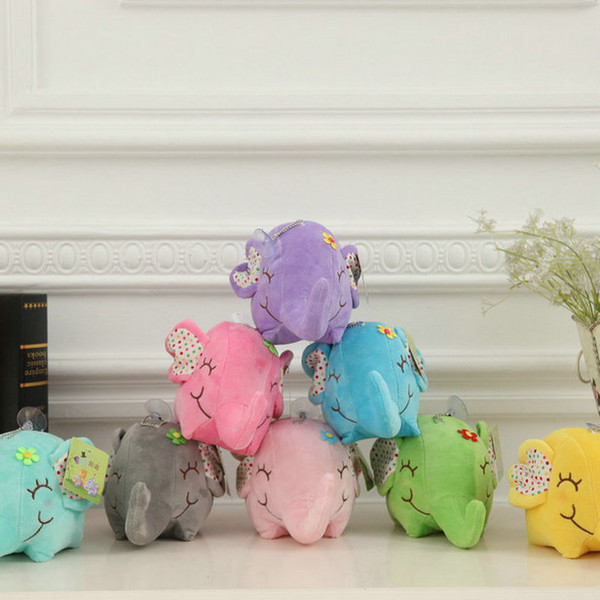 8 colors 1 piece 2016 new cartoon plush Elephant baby pillow toys stuffed animals small pendant plush doll birthday gift