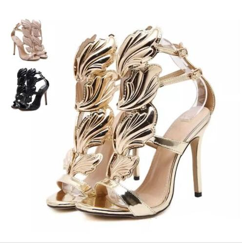 New Flame metal leaf Wing High Heel Sandals Gold Nude Black Party Events Shoes Size ; 35 -40