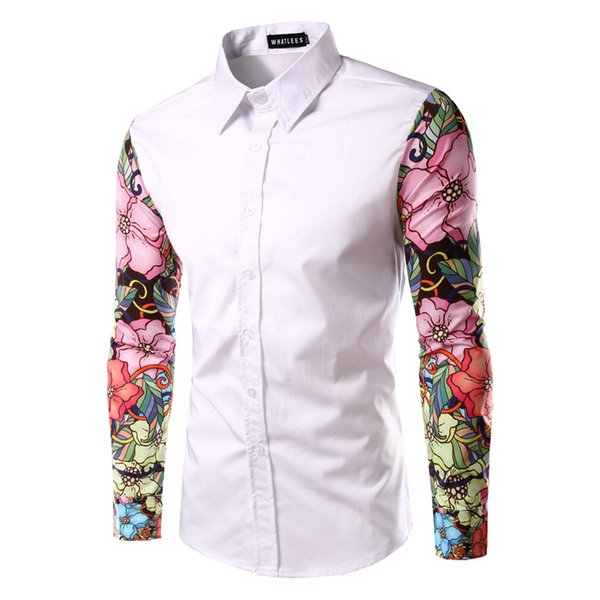 Stylish New Arm Flowers Print Casual Shirt Patchwork Long Sleeves Men's Slim Fit Business Shirt A17