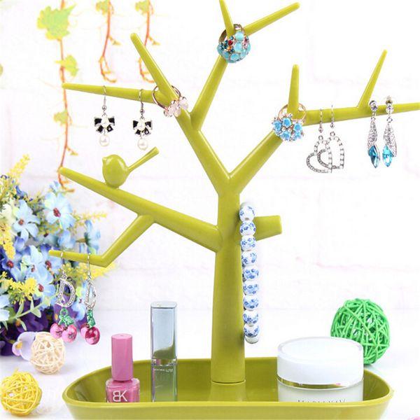 Comercio al por mayor 5 unids / lote Exhibición de La Joyería Caja de Regalo Collar de la Joyería Anillo Pendiente Tree Stand Organizador Holder Showcase Rack Accesorios de Embalaje