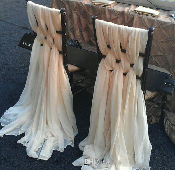 2016-2017 Elegant Cheap Chiffon Ruffles Chair Sash For Wedding Decorations Anniversary Party Banquet Accessory In Stock Chair Covers