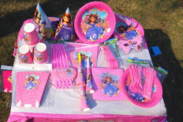 Parti Sofra Yeni Kızlar Mutlu Doğum Günü Pembe Parti Sofra Parti Dekorasyon Aksesuarları Parti Süslemeleri Çocuklar Kağıt Tabaklar