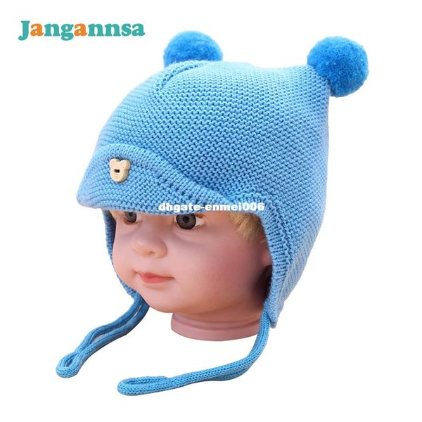 Knit Baby Hats Ear Protection Boys Hats Dual Balls Solid Boys Girls Caps Winter Autumn Baby Beanies For Girls Lace Up Baby Hat