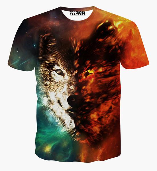 футболка мужская летняя футболка 3D печати животных волк пространство / галактика футболка harajuku хип-хоп футболка бесплатная доставка G1073