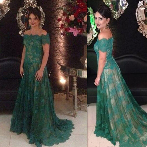 2016 Mother Of The Bride Dresses Hunter Green Lace Off The Shoulder Elegant Long Gowns For Groom Mother