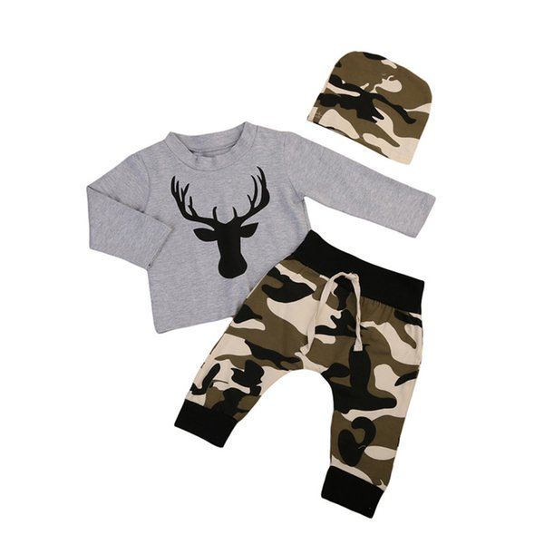 Mikrdoo 2017 Baby Christmas Suits Grey Deer T Shirt Camouflage Long Pants Hat 3pcs Sets Kids Boys Girls Cotton High Quality Clothes Outfits