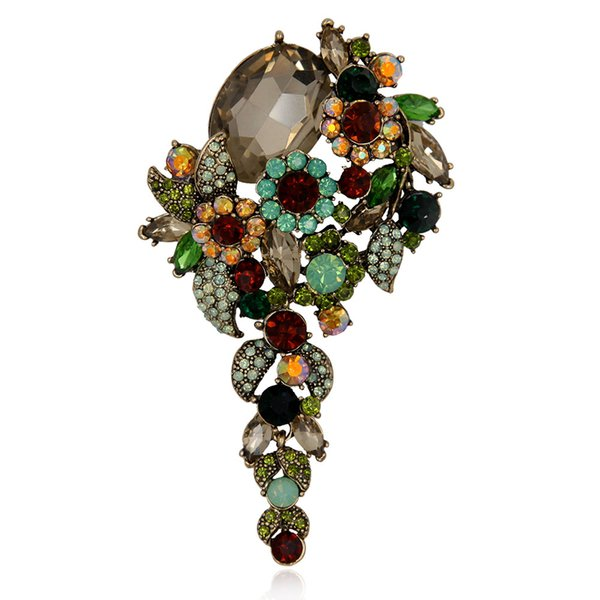 Wholesale- Elegance Crystal Rhinestone Flower Brooch Pin Women Garment Large Size Fashion Vintage Jewelry Gift 2017