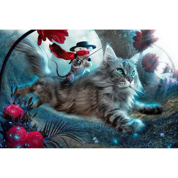 New Needlework Glasses Cat Lying On The Sofa Reading book Diamond Painting Mosaic Diamond Home Decor 60x40cm HWB-483