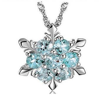 Snow Shape Snowflake Pendant Necklace Snowflake 925 Sterling Silver Necklace Chain Austrian Crystal Snowflake Necklace DHL