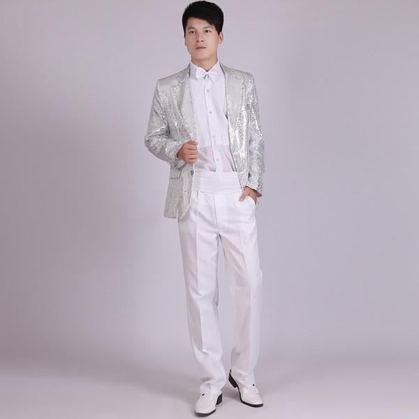 Wholesale- (Jacket+Pants) Men's Gold Silver Black Blue Red Sequins Stage Suits Show Serve Paillette Chorus Master Singer Clothing