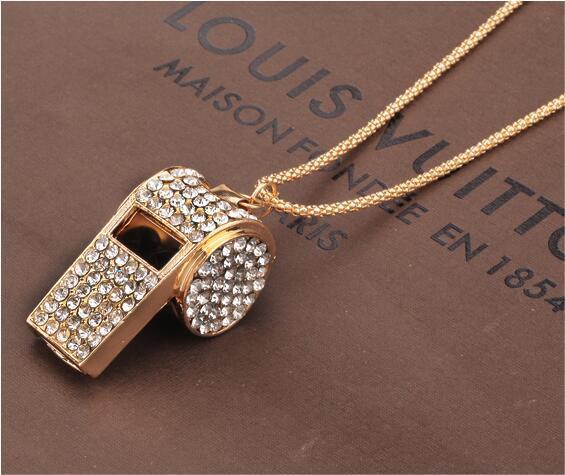 Fischio cristallo collane pieno strass gioielli in oro placcato lunga catena maglione placcato oro gioielli sportivi