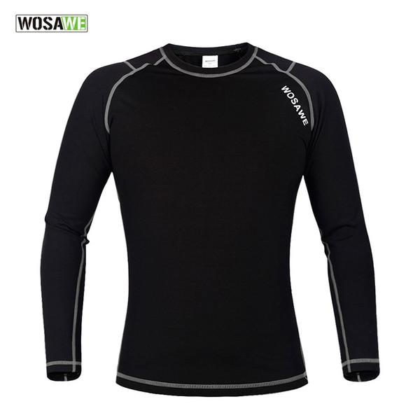 WOSAWE Männer Compression Base Layer Tight Top Shirt unter Haut Langarm Sport Getriebe Fleece Langarm Radtrikot