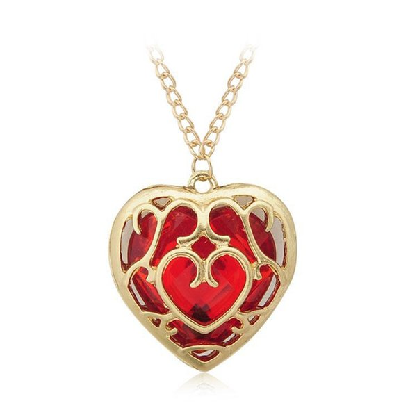 Sunshine The Legend of Zelda blue red Heart Container necklace hollow out pendant Jewelry lovers free shipping