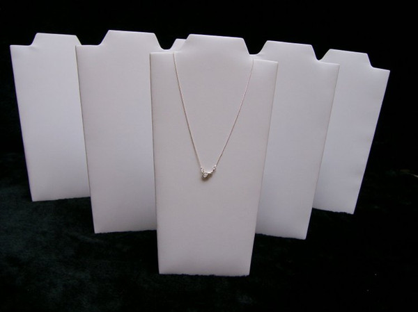 White Leather PU 20pcs/Lot Folding Necklace Stand Wooden Jewelry Display Holder Props Pendant Showcase Easel