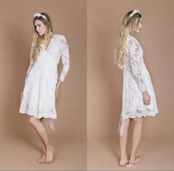 Long Sleeve Wedding Dresses 2018 New Design Lace Pregnant Bride Dresses Vintage A Line V Neck Knee Length Beach Summer Boho Bridal Gowns