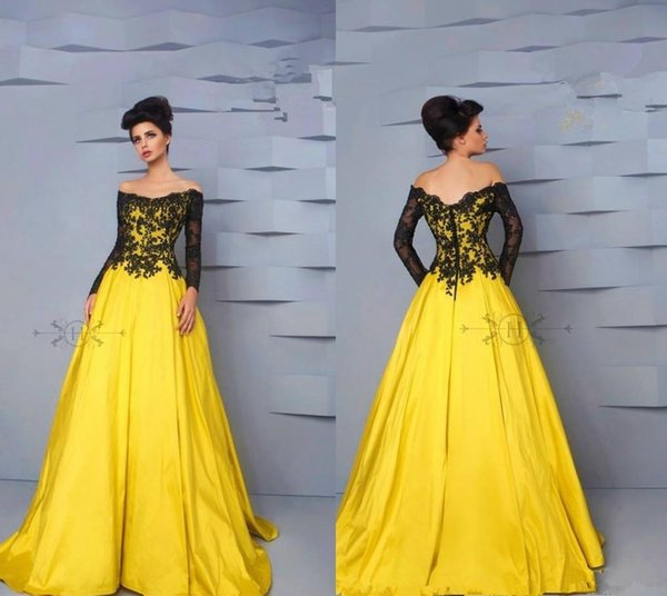 Yellow Cheap Long Sleeve Evening Dresses Black Lace Off Shoulder A Line Taffeta Formal Evening Gowns Special Occasion Party Dress Women