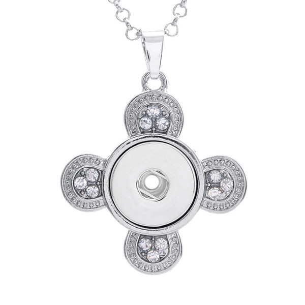 Alloy Snap Button Round Cross with Crystal Charm Pendant For DIY Making Jewelry Findings Fit 18MM Noosa Chunks