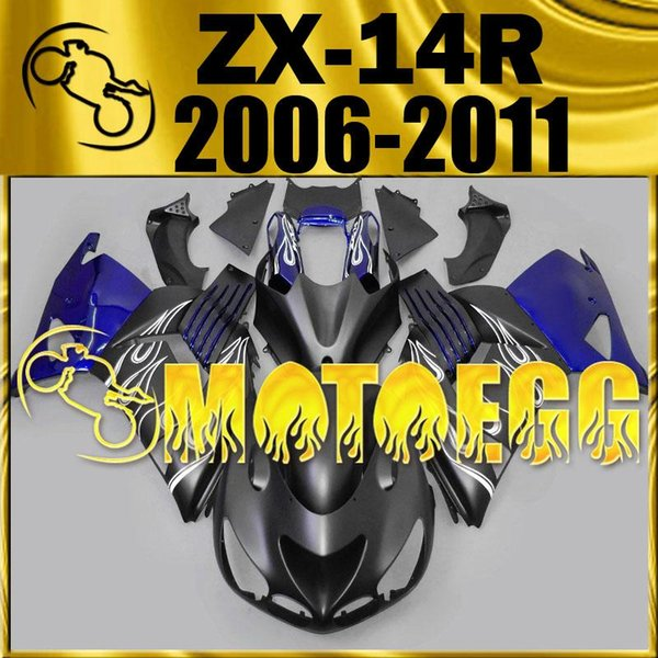 Five Gifts Motoegg Injection Mold Plastic Fairings Top Sell For Kawasaki Ninja ZX-14R 2006-2011 ZX 14R 06-11 ZX14R Flames Blue K17M52