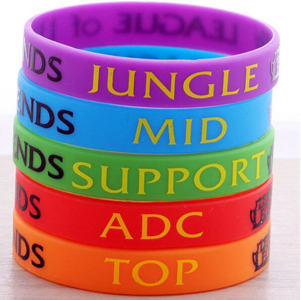 Großhandel 2016 LOL GAMES Souvenirs Silikon Armband LEAGUE OF LEGENDS Armbänder mit ADC, JUNGLE, MID, SUPPORT, TOP, Printed Band