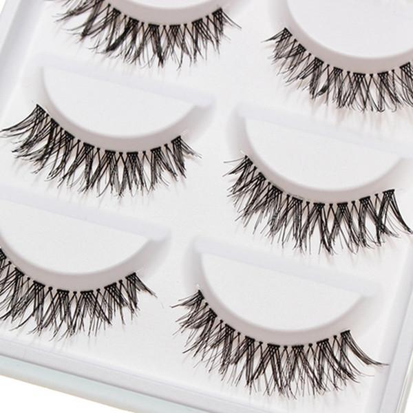 Crisscross Natural Transparent Plastic eye lashes Beauty Makeup Mini Half Corner Black False Eyelashes 5 Pairs Eye Lashes Cosmetics Tools