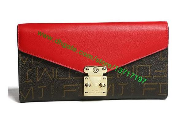 Erstklassige braune Leinwand beschichtet Echtleder Lady Palllas Brieftasche M58413 M58414 M56241 M58415 Damenmode Designer Schließe Klappe Brieftasche
