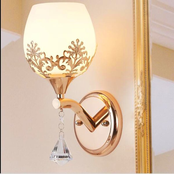 Modern led crystal glass wall lamps bedroom living room restaurant hotel wall lights bedside decorative lamps