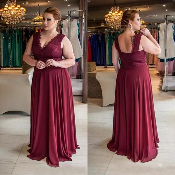 Custom Made Mother Of The Bride Dresses Plus Size V Neck A Line Burgundy Lace and Chiffon Evening Dresses Mother of the Groom