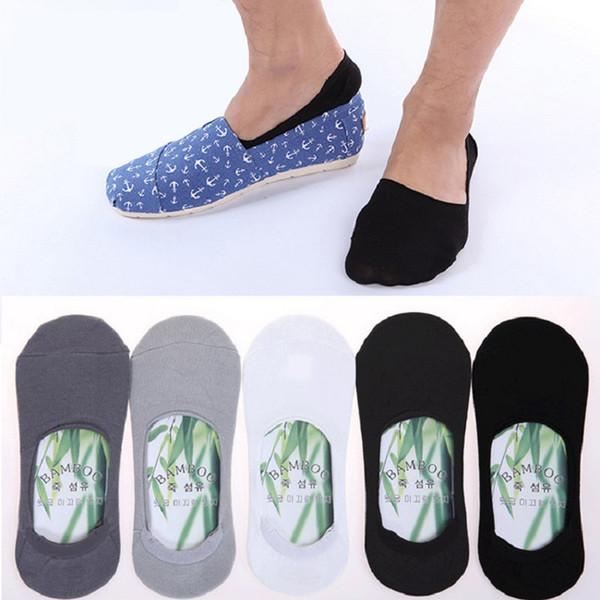 Sommer-Mann-Socken-Pantoffel-Bambusfaser-rutschfeste Silikon-unsichtbare Bootskompression socken männliche Socken 5pairs / lot