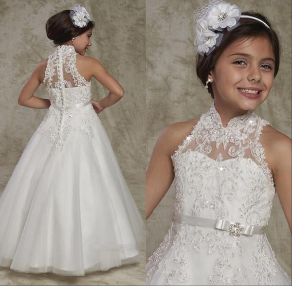 2018 Novo Longo Pageant Vestidos para Teen High Neck Botão Voltar Lace Frisado Elegante Festa de Casamento Da Criança Da Menina de Flor Vestidos com Arco Cinto