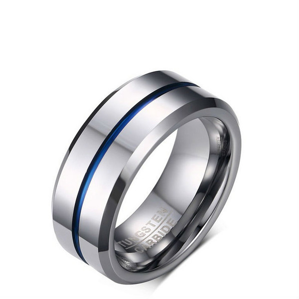 Free Engraving Thin Blue Line Tungsten Ring 8MM Mens Wedding Band with Polished Beveled Edge US Size7-12 (Leave Message About Engraving)