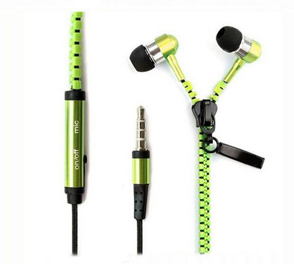 Auriculares con cremallera metálica Auriculares estéreo bajo en el oído con Mic 3.5mm Jack Auriculares para iPhone Samsung MP3 50pcs Alta calidad